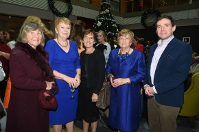 EE socials 19/11/2016.Ten Year Anniversary lunch at The Clarion Hotel on November 19th. The Emer Casey Foundation is a Cork based ovarian cancer charity which has worked to spread awareness of ovarian cancer as well as improving research and medical care for the past ten years.Brenda O'Donovan, Marjorie Moran, Ann O'Brien, Juliette Casey and Dr Matt Hewitt, CUMH attending the lunch.Pic; Larry Cummins