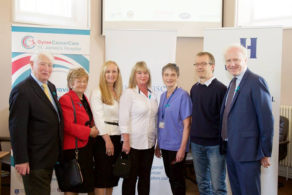 From left to right - Brendan Casey, Juliette Casey Snr and Juliette Casey Jnr, Founders, Emer Casey Foundation; Audrey Tynan, Speaker and Ovarian Cancer Patient, Dr. Noreen Gleeson, Gynaecological Oncologist, St. James's Hospital; Jean Marc Monseux, Lymphodema Specialist/Physiotherapist, St. James's Hospital; Lorcan Birdthistle, CEO, St. James's Hospital.