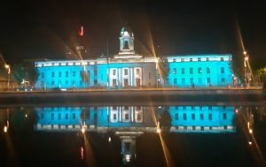Cork City Hall lit up in Teal on World Ovarian Cancer Day 8th May 2019
